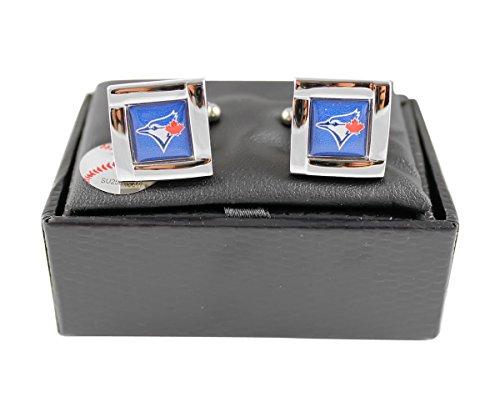 MLB Toronto Blue Jays Square Cufflinks with Square Shape Logo Design Gift Box (Toronto Blue Jays Cufflinks)