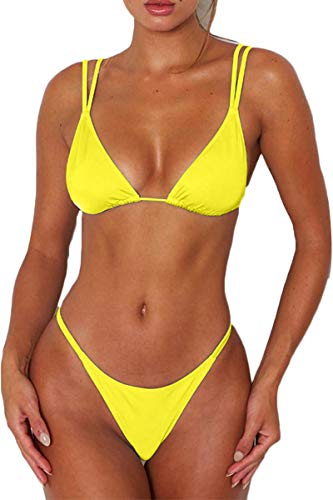 Bisting Plus Size Bikini Sets for Women V Neck Open Back Triangle Swimsuits Yellow XL