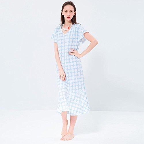 MH-RITA Camiseta de manga corta de algodón hembra camisón de verano vestidos vestidos de Princesa Cute Lunares pijamas transpirable Home Furnishing Palo M M