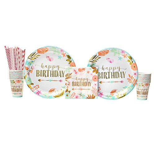 Boho Birthday Girl Party Supplies Pack for 16 Guests: Straws, Dinner Plates, Luncheon Napkins, and -