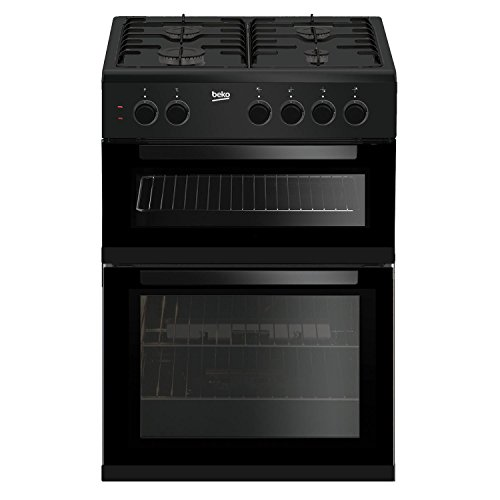 Beko KDG611K 60cm Double Oven 4 Burners Gas Cooker with LPG Option in Black