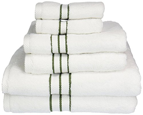 (Superior Hotel Collection 900 Gram, Long-Staple Combed Cotton 6 Piece Towel Set, White with Forest Green Border)