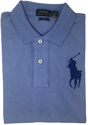 Mesh Polo Big Pony - Ralph Lauren Women's Big Pony Tri-Color Mesh Polo Shirt (X-Large, Light Blue)