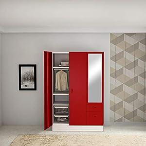 GODREJ INTERIO Slimline Blend 3 Door Steel Almirah in Ceremine Red,Textured Finish