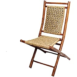 Heather Ann Creations Bamboo Folding Chairs with Open Link Seagrass Weave, Pack of 2, Brown and Natural