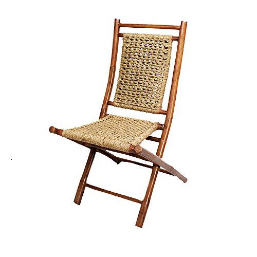 Heather Ann Creations Bamboo Folding Chairs with Open Link Seagrass Weave, Pack of 2, Brown and Natural - Metal Unfinished Chair