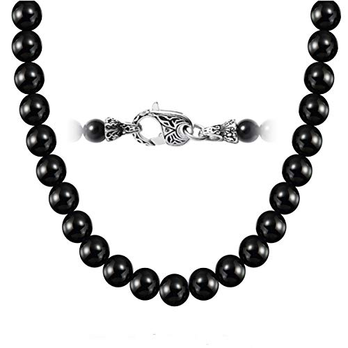 (WESTMIAJW Mens Black Onyx Beads Necklace Chain 8mm Natural Gemstones Jewelry 50cm,Comes with Jewelry)