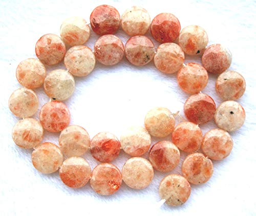 (FidgetFidget Natural Sunstone Coin/Disc Beads 12mm 15.5