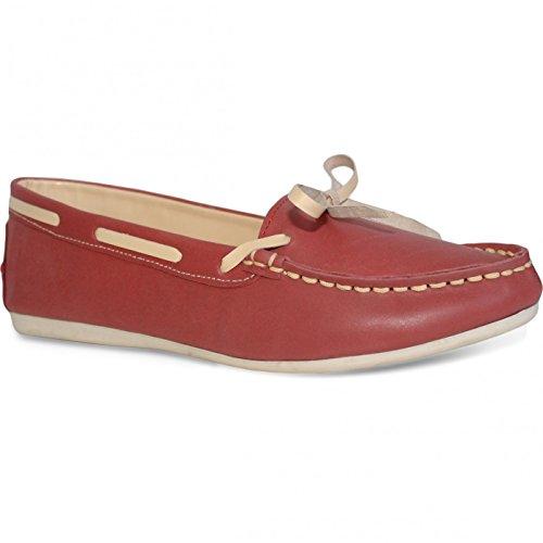 Bootsschuhe Mokassins Segelschuhe lederschuhe Schuhe rot/beige, Größe:38