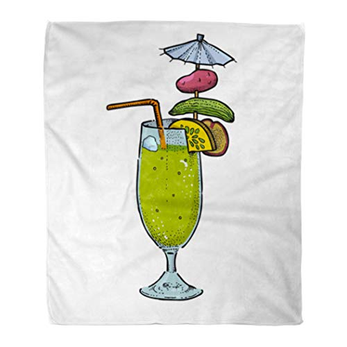 Semtomn Decorative Throw Blanket 60 x 80 Inches Awful Weird Cocktail Cartoon Original Colorful Comic Childish Drawing Warm Flannel Soft Blanket for Couch Sofa ()
