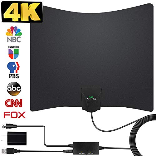 HDTV Antenna, 2019 New Indoor Digital TV Antenna 130 Miles Range with Amplifier Signal Booster 4K Free Local Channels Support All Television,17ft Coax Cable (Rv Antennas For Digital Tv Jack)