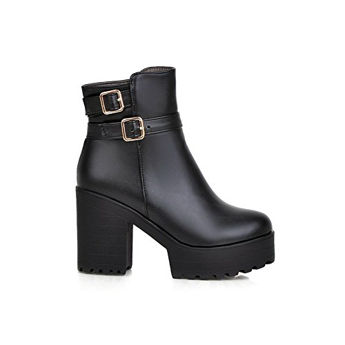 AmoonyFashion Heels Material Round Black Boots Soft Closed Toe High Low Top Women's Zipper rOqrH4