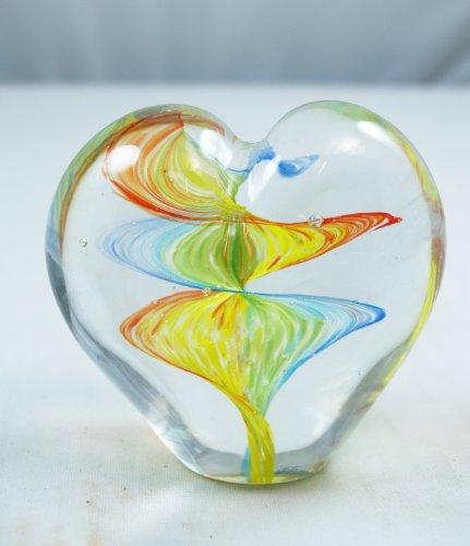 M Design Art Handcraft Glass Rainbow Wave Art Heart Glass Paperweight - Murano Wall Sculpture
