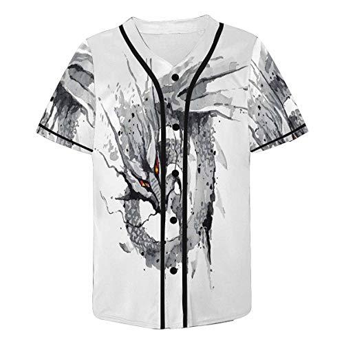 INTERESTPRINT Men's Ink Dragon Baseball Jersey T-Shirts Plain Button Down Sports Tee 3XL