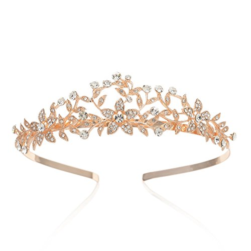 SWEETV Rose Gold Wedding Crown Bridal Tiara Crystal Princess Headpieces Party Prom Hair -