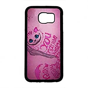 Artistic Style Cheshire Cat Alice in Wonderland Funda,Alice in Wonderland Samsung Galaxy S6 Funda,Hard Plastic Case Cover Snap on Samsung Galaxy S6