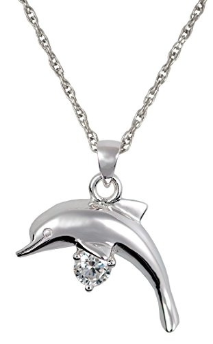 Memorial Gallery 3209s Dolphin with Stone Sterling Silver Cremation Pet Jewelry by Memorial Gallery
