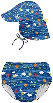 i play. by green sprouts Snap Reusable Swimsuit Diaper and Flap Sun Protection Hat - Blue Sea Friends