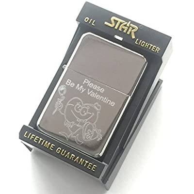 Be My Valentine Silver Star Briquet Fantaisie Badge (T16) 59 mm