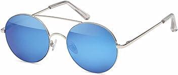 Runde Sonnenbrille aus Metall mit Flex Temple und verspiegeltem Flachglas aus Polycarbonat - Im Set mit Mikrofaseretui