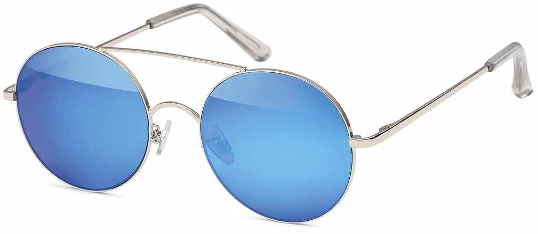 Runde Sonnenbrille aus Metall mit Flex Temple und verspiegeltem Flachglas aus Polycarbonat - Im Set mit Mikrofaseretui (Blau verspiegelt) ximH7jt