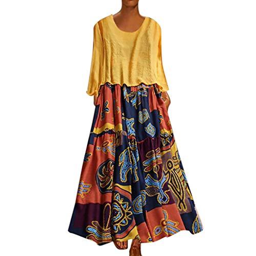 XGUMAOI_Dress Women's Floral Printed Long Sleeve Empire Waist Maxi Dresses(Cotton and Linen) Yellow ()