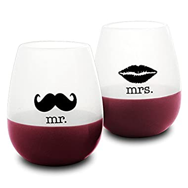 DuVino Mr. and Mrs. Unbreakable Stemless Silicone Wine Drinking Glass, Set of 2