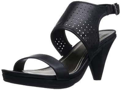 Kenneth Cole REACTION Women's Push Leather LE Sandal,Black,5 M US