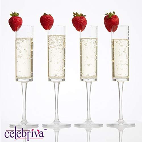 Premium Plastic Champagne Flutes • Unbreakable, Reusable Plastic Champagne Flutes • Set of 4 Toasting Flutes • Plastic Champagne Glasses by celebriva™