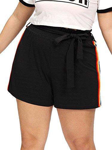 Romwe Women's Plus Size Casual Elastic Waist Summer Side Stripe Walking Shorts Black 1XL (Stripe Waist Short)