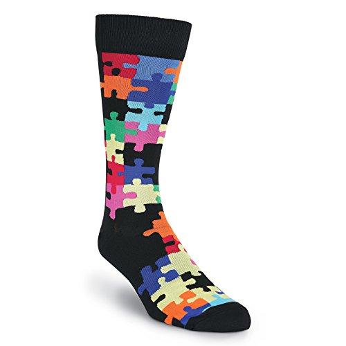 (K. Bell Socks Men's Geometric Pattern Novelty Crew Socks, Jigsaw Puzzle (Black), Shoe Size:)