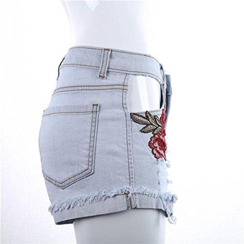 Rawdah Pantalones cortos flojos del pantalón de los pantalones vaqueros de los pantalones vaqueros rasgados atractivos de los pantalones del agujero de los appliques de las mujeres Blanco
