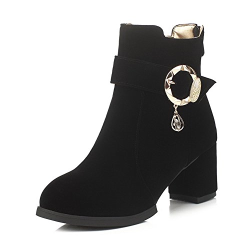 Allhqfashion Women's Solid Kitten Heels Round Closed Toe Imitated Suede Zipper Boots Black gZshKwGYM
