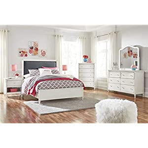 Haslev Chipped White Wood Full Bed, Dresser, Mirror, Nightstand and Chest