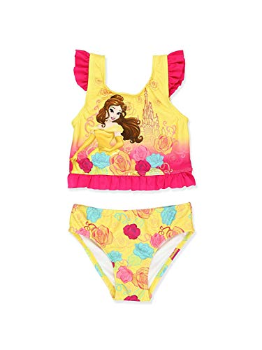 Disney Princess Belle Girls Tankini Swimsuit (2T, Yellow)