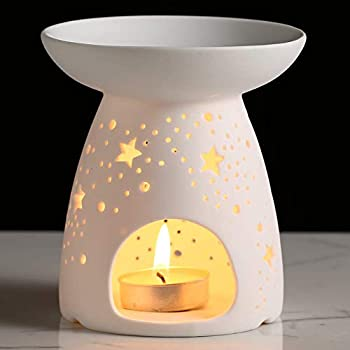 NJCharms Ceramic Tealight Holder Essential Oil Burner Candle Warmers Carved Star White