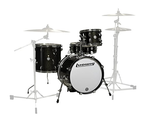 Ludwig LC179X016 Breakbeats 4 Piece Shell Pack with Riser, Black Sparkle ()