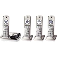 Panasonic KX-TG444SK DECT 6.0 Expandable Digital Cordless Answering System, 4 Handsets, Champagne (Certified Refurbished)