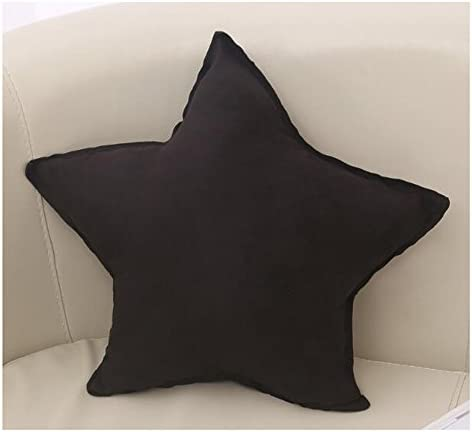 LuckySHD Five-Pointed Star Shape Plush Pillow Soft Cushions for Sofa Home Decor-Black