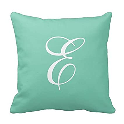 Amazon.com  Trendy Mint Green And White Monogram Throw Pillow Case ... f29ab21417fd