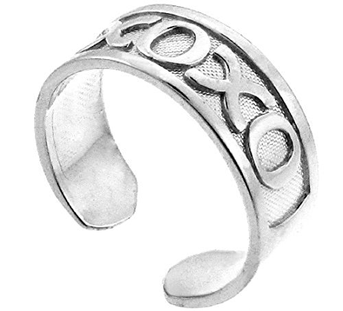 14k White Gold Hugs and Kisses XOXO Toe Ring by More Toe Rings