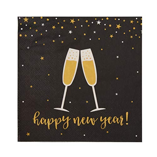 Cocktail Napkins - 100-Pack Disposable Paper Napkins, New Year Holidays Dinner Party Supplies, 2-Ply, Champagne Toast in Black and Gold Design, Unfolded 13 x 13 Inches, Folded 6.5 x 6.5 Inches