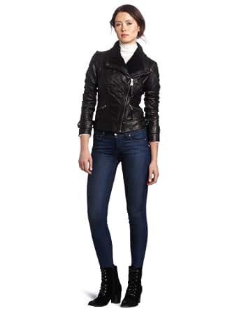 MICHAEL Michael Kors Women's Asymetrical Leather Jacket, Black, Small