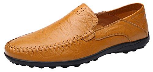 Abby 8008-1 Mens Comfort Casual In Pelle Affascinante Metropolitano Smart Driving Sneakers Da Uomo Giallo