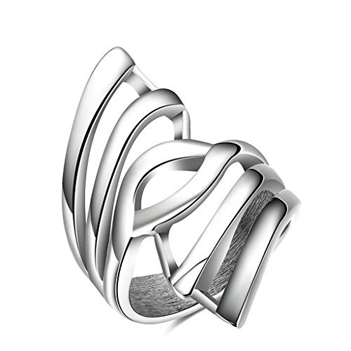 Epinki Fashion Jewellry Stainless Steel Mens Ring Irregular Shape Silver Size 7