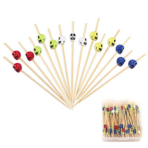 Halloween Skull Skewers for Appetizers 4.7 inch Fancy Cocktail Picks Long Bamboo Toothpicks in Clear Storage Box Party Bar Drinks Food Fruits Decoration Supplies 100 Counts -MSL121 -