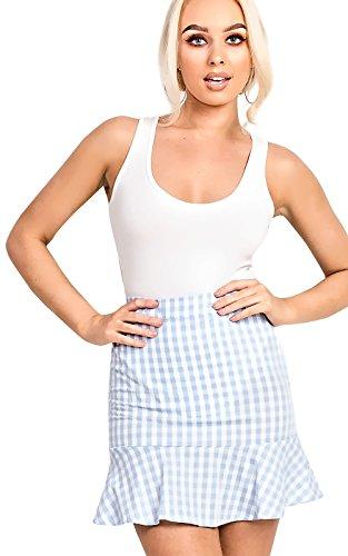 IKRUSH Women's Perla Gingham Frill Trim Mini Skirt Size in Blue Size 12 -