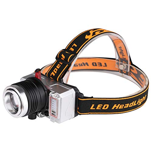 Iusun LED Rechargeable 90 Degree Headlamp Headlight Flashlight Torch Lantern for Camping,Outdoor,Emergency,Everyday,Hiking, Hunting, Backpacking, Fishing, BBQ and EDC (Black)