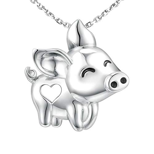 (Happy Pig Necklace 925 Sterling Silver Cute Pig Pendant Necklace for Women Girls Gifts Fashion Animal Jewelry Silver Moutain Mom Gifts)