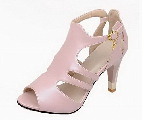Women's Heels Solid EGHLH006461 Toe High WeiPoot Buckle Sandals Pu Pink Open apHq0ndcPU